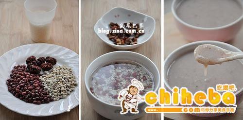 红豆红枣薏米糊的做法(早餐菜谱)