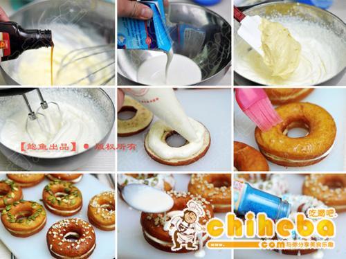 巧克力乳酪甜甜圈儿的做法(下午茶菜谱)