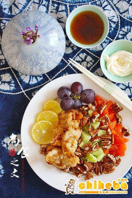#趣味美食家#不买苹果8,用它来补肾--碧根果炸虾仁沙拉