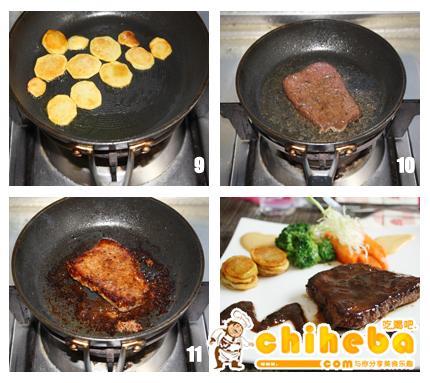 烤酱牛排配煎土豆沙拉