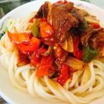 新疆辣子肉拌面